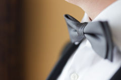 Young man wearing a bow tie. Closeup Royalty Free Stock Photography