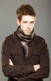 Young man wearing elegant shirt and  scarf Stock Photos