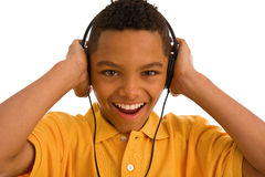 Young man wearing headphone Stock Photography