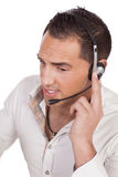 Young man wearing headphones and microphone Royalty Free Stock Photos
