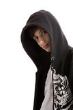 Young man wearing hooded sweatshirt. Isolated on white background Royalty Free Stock Photos