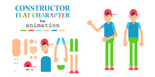 Young man wearing hoodie character creation set. Friendly teenager in a trendy casual wear. Build your own design. Cartoon flat-style infographic illustration Stock Image