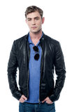 Young man wearing leather jacket Royalty Free Stock Image