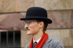 Young man wearing old fashioned tweed clothes Royalty Free Stock Photo