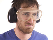 Young man wearing protective gear Royalty Free Stock Image