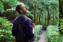 Man traveling in the forest with backpack. Young man wearing the purple blazer is walking in the forest with gray backpack stock photography