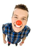 Young man wearing red nose Stock Photos