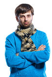 Young man wearing scarf and sweater Royalty Free Stock Image