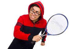 Young man wearing sport costume isolated on white Royalty Free Stock Images