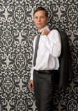 Young man wearing a suit Stock Photography