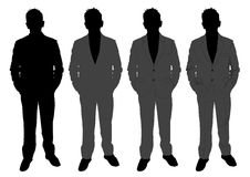 Man in suit. An illustration of man in suit, four versions with each one with more details than the previous one Royalty Free Stock Photo