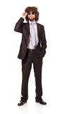 Young man wearing suit and sunglasses Royalty Free Stock Image