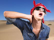 Young Man Wearing Sunglasses and Bandana Royalty Free Stock Images