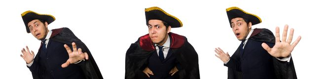The young man wearing tricorn and coat isolated on white royalty free stock photo