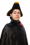 Young man wearing tricorn and coat isolated on Stock Photo