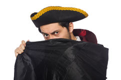Young man wearing tricorn and coat isolated on Royalty Free Stock Photos