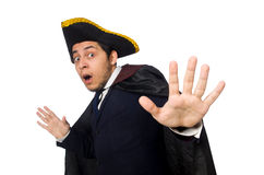 Young man wearing tricorn and coat isolated on Royalty Free Stock Images