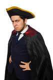 Young man wearing tricorn and coat isolated on Royalty Free Stock Photo