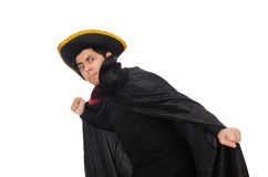 Young man wearing tricorn and coat isolated on Royalty Free Stock Image