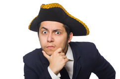 Young man wearing tricorn Stock Photos