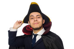 Young man wearing tricorn and coat isolated on Stock Image