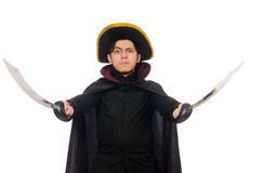 Young man wearing tricorn and coat isolated on Stock Photography