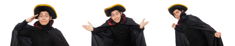 The young man wearing tricorn and coat isolated on white Stock Photos
