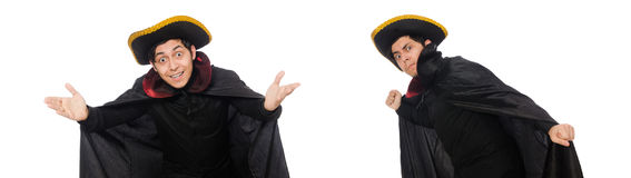 The young man wearing tricorn and coat isolated on white Stock Photography