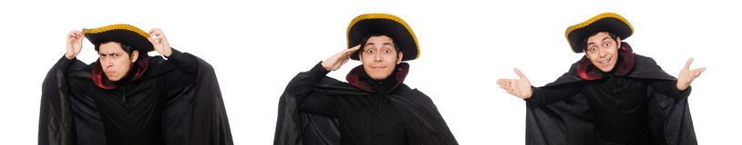 The young man wearing tricorn and coat isolated on white Royalty Free Stock Images