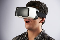 Young Man Wearing Virtual Reality Headset royalty free stock images