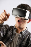 Young Man Wearing Virtual Reality Headset royalty free stock image