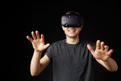 Young Man Wearing Virtual Reality Headset Royalty Free Stock Photography