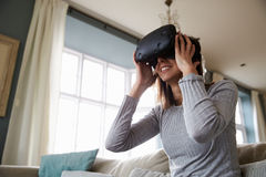 Young Man Wearing Virtual Reality Headset Stock Image