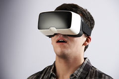 Young Man Wearing Virtual Reality Headset royalty free stock photos