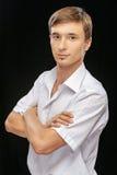 Young man wearing a white shirt Stock Image