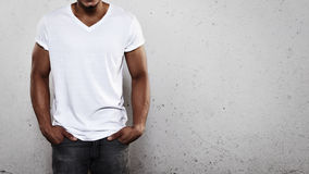 Young man wearing white t-shirt Stock Photography