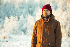 Young Man wearing winter hat fashion clothing outdoor Royalty Free Stock Photos