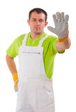Young man wearing working clothes Royalty Free Stock Photo