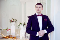 Young man at the wedding, the groom Stock Photos
