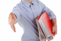 Young man welcome in office Stock Photos