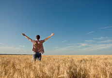 Young man in the wheat field Royalty Free Stock Photos