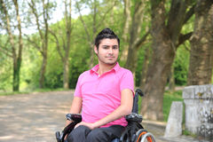 Young man in a wheelchair Stock Photos
