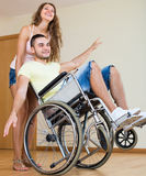 Young man on wheelchair Stock Image