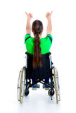 Young man in a wheelchair with thumbs up Royalty Free Stock Image