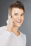 Young man which talks by mobile Stock Image
