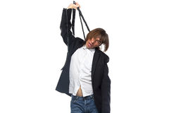 Young man with whip, bad news Royalty Free Stock Photos