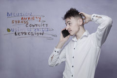 Young man whit depression Stock Images