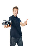 Young man on white Stock Photo