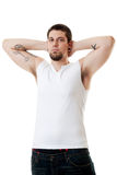 Young Man in White royalty free stock image