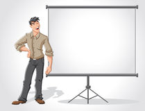 Young man and white billboard Stock Image